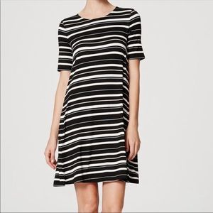 Loft short sleeve stripe swing dress
